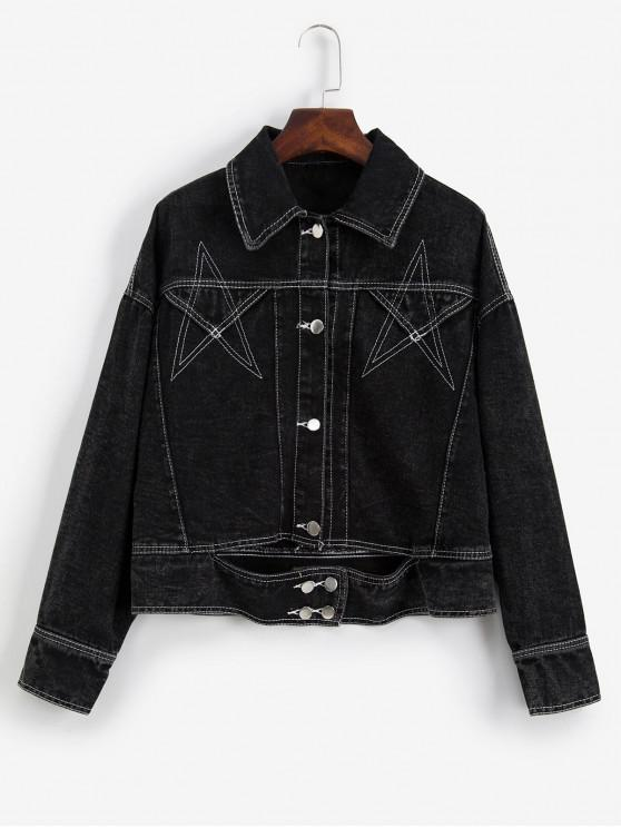 fancy Star Stitching Drop Shoulder Denim Jacket - BLACK S
