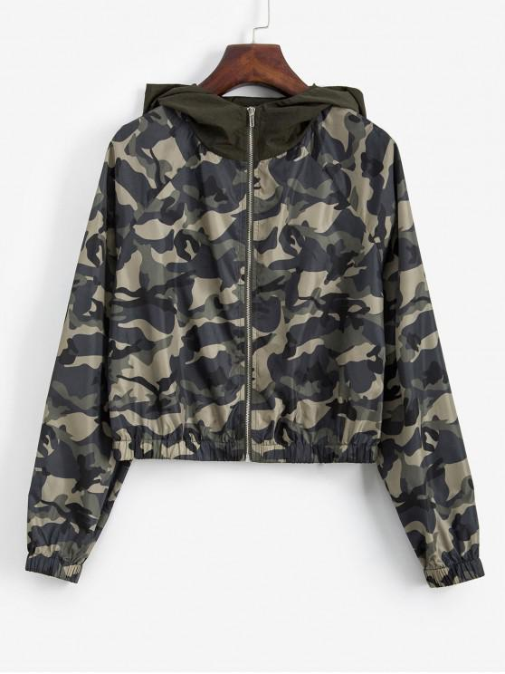 buy ZAFUL Camouflage Zip Up Crop Hooded Jacket - CAMOUFLAGE GREEN XL