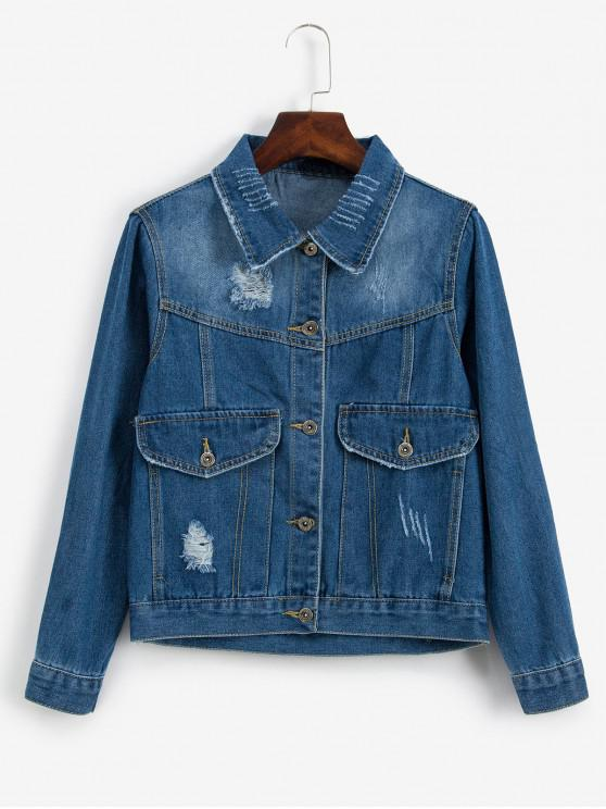 chic Faux Pocket Distressed Denim Jacket - SKY BLUE S
