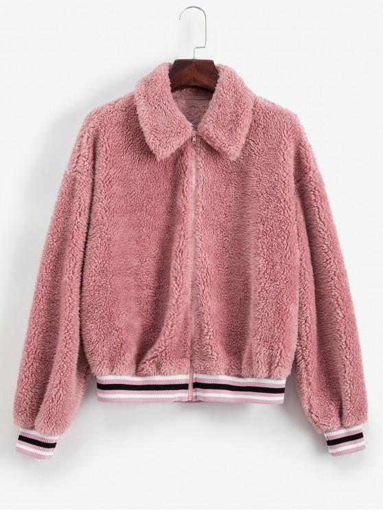 women ZAFUL Striped Hem Faux Fur Zip Up Coat - PINK ROSE M