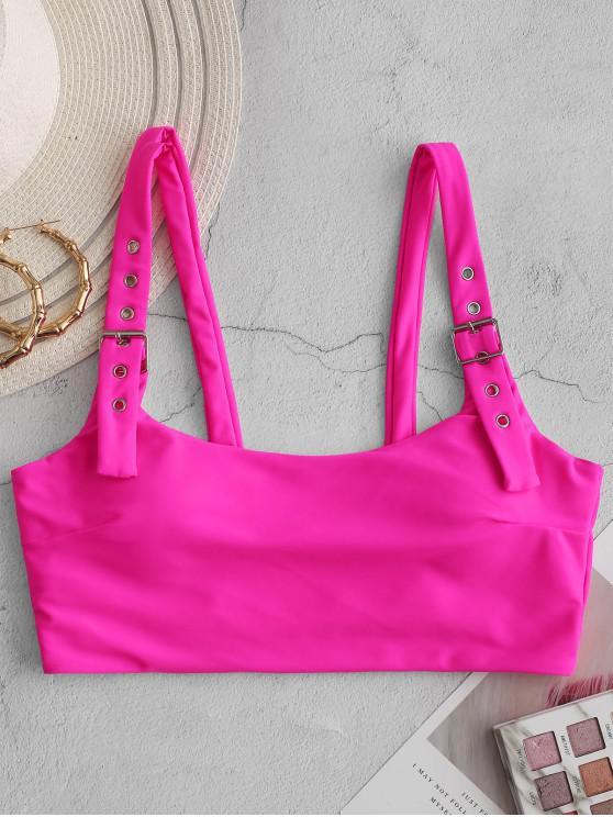 new ZAFUL Buckle Square Neck Pullover Bikini Top - ROSE RED M