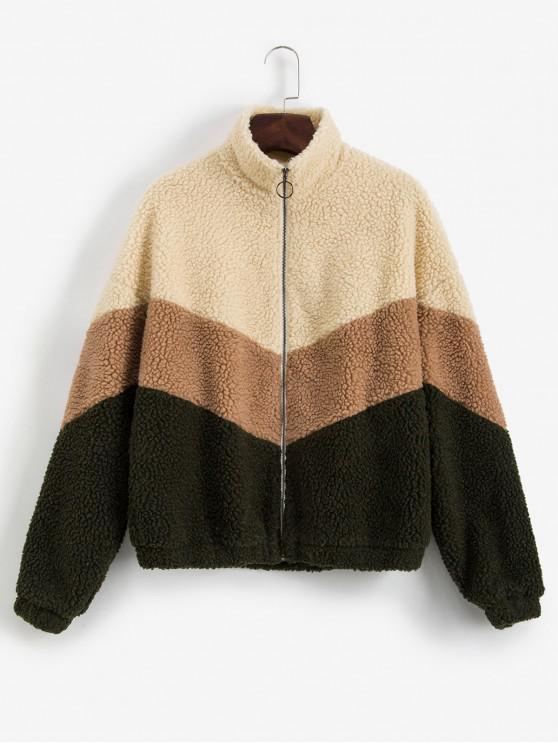 affordable ZAFUL Color-blocking Zip Drop Shoulder Fluffy Teddy Coat - MULTI M