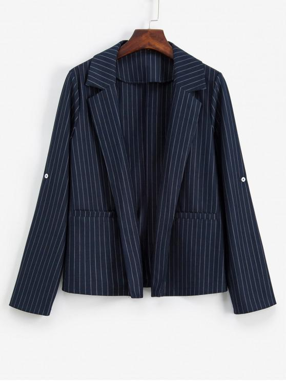 best ZAFUL Pinstriped Roll Tab Sleeve Pocket Lapel Work Blazer - CADETBLUE M