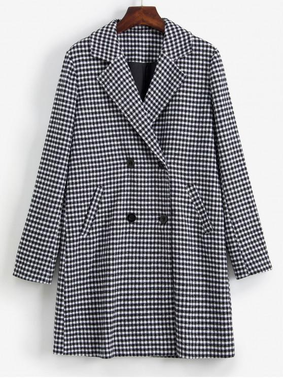 hot ZAFUL Gingham Button Up Lapel Coat - BLACK XL