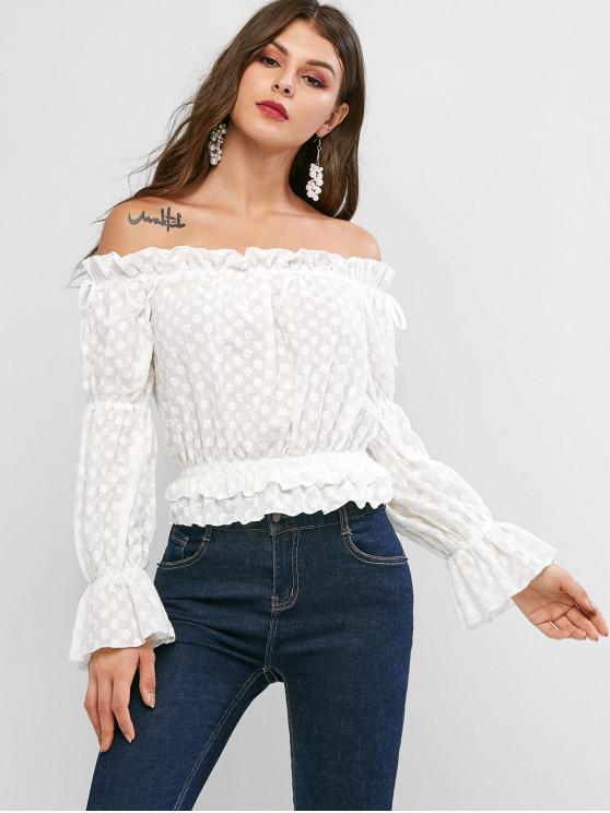 affordable Poet Sleeve Floral Embroidered Off Shoulder Blouse - WHITE S