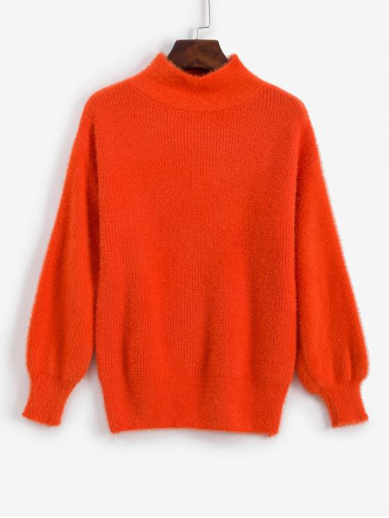 fashion Fuzzy Mock Neck Drop Shoulder Sweater - ORANGE ONE SIZE