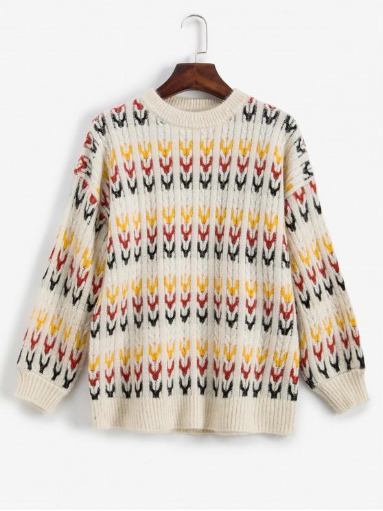 unique Cable Knit Pullover Graphic Crew Neck Sweater - WARM WHITE ONE SIZE