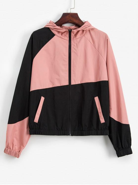 outfit ZAFUL Zip Up Contrast Raglan Sleeves Hooded Jacket - MULTI-A S