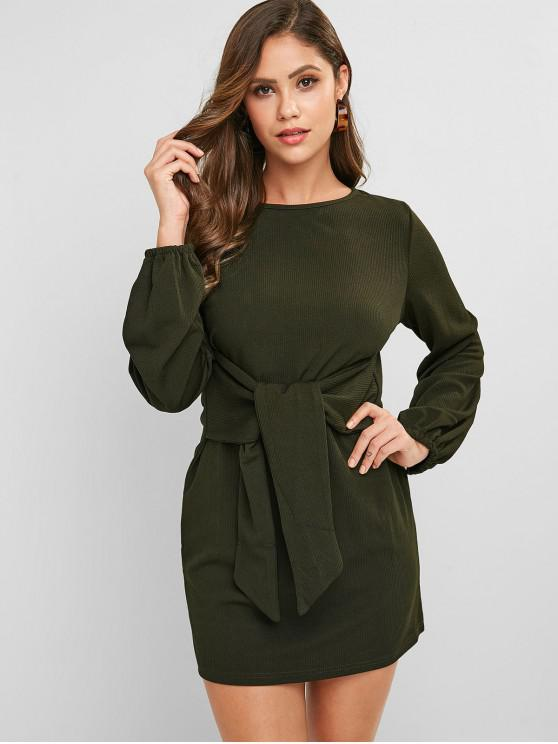 chic Ribbed Belted Long Sleeve Mini Dress - ARMY GREEN L