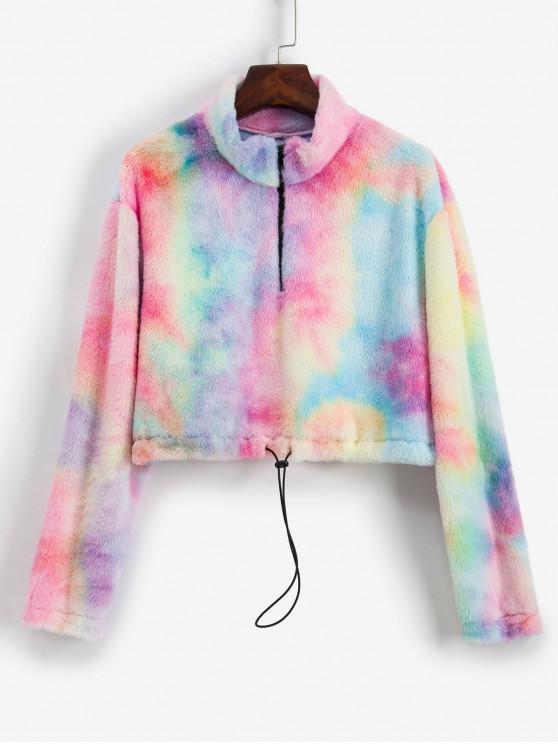 ZAFUL teñido anudado de media cremallera con capucha gota hombro Fuzzy - Multicolor S