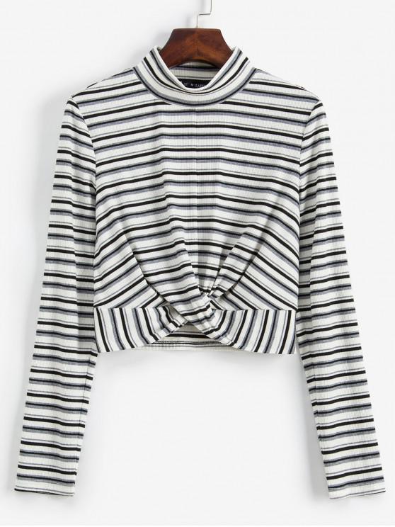 sale ZAFUL Striped Twist Front Crop Long Sleeves Tee - WHITE L