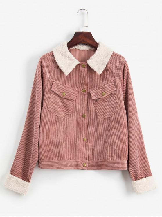 chic ZAFUL Cuffed Sleeves Snap Button Pockets Corduroy Jacket - KHAKI ROSE M