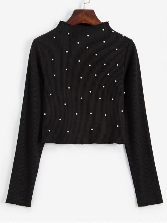 affordable ZAFUL Beading Faux Pearls Ribbed Long Sleeve Tee - BLACK M