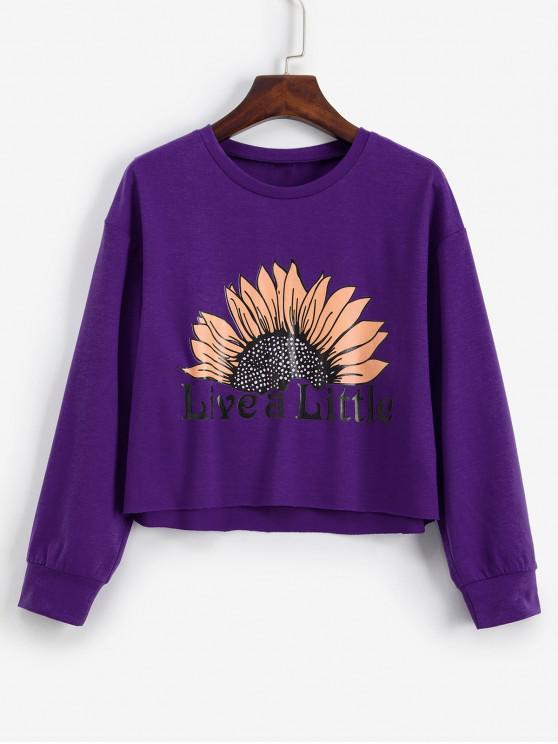 shop ZAFUL Live A Little Sunflower Graphic Raw Cut Sweatshirt - PURPLE M