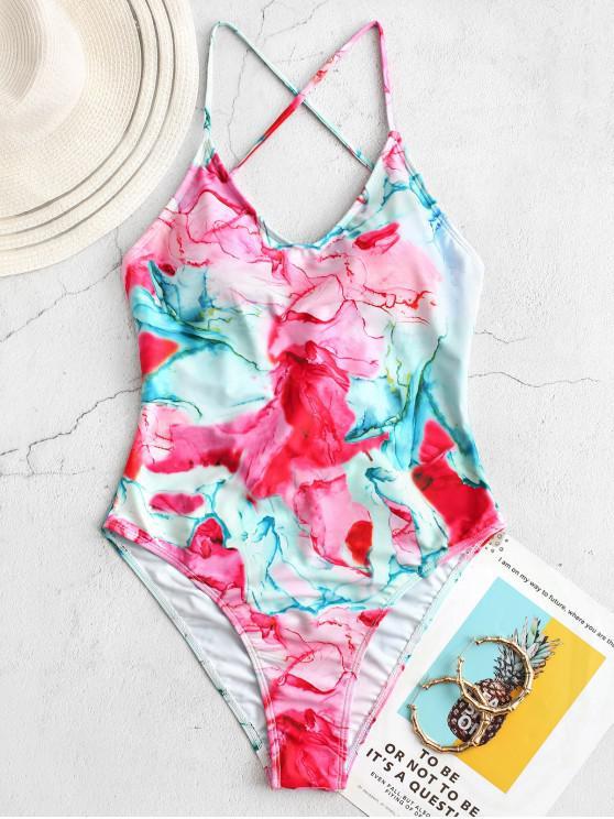 women's ZAFUL Tie Dye Lace Up One-piece Swimsuit - MULTI-A M