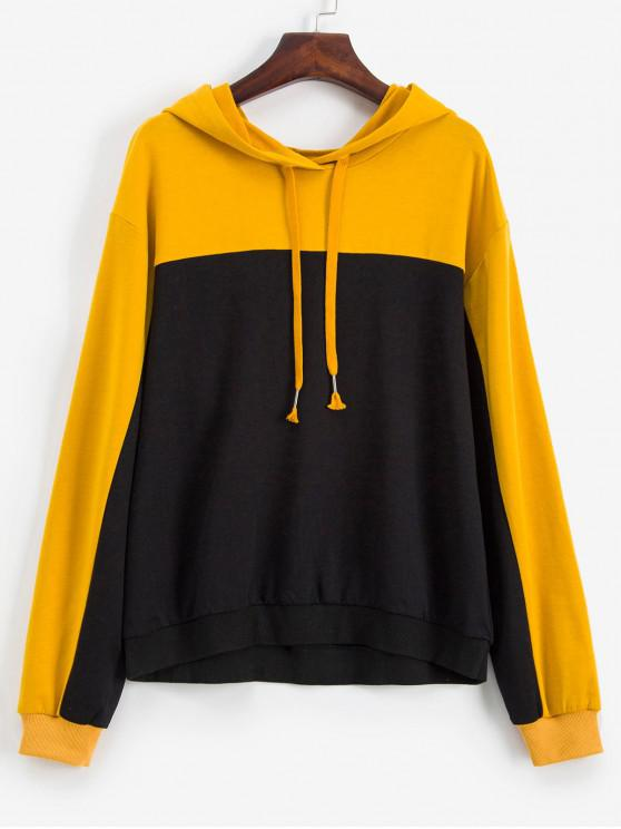 lady ZAFUL Colorblock Drop Shoulder Drawstring Hoodie - MULTI S