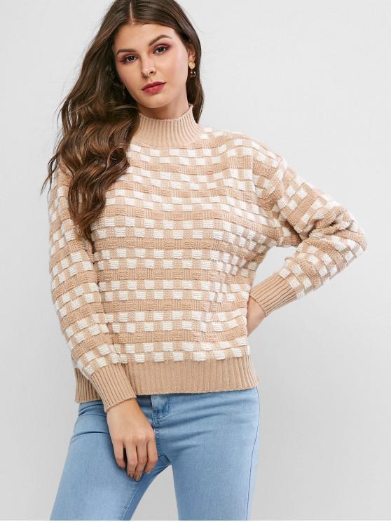 Fallschulter Stehkragen Strukturierter Quadrat Pullover - Tan Eine Größe