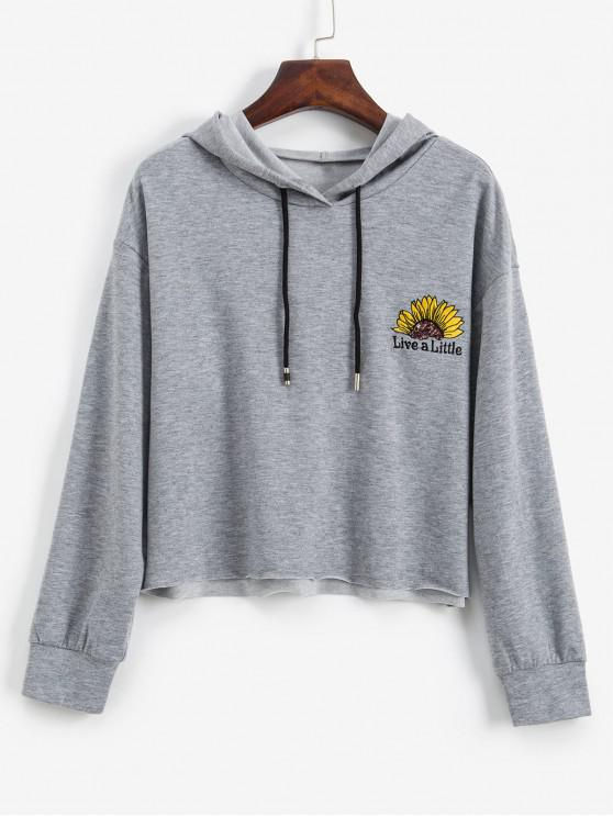 latest ZAFUL Floral Letter Embroidered Sequined Crop Hoodie - GRAY CLOUD XL
