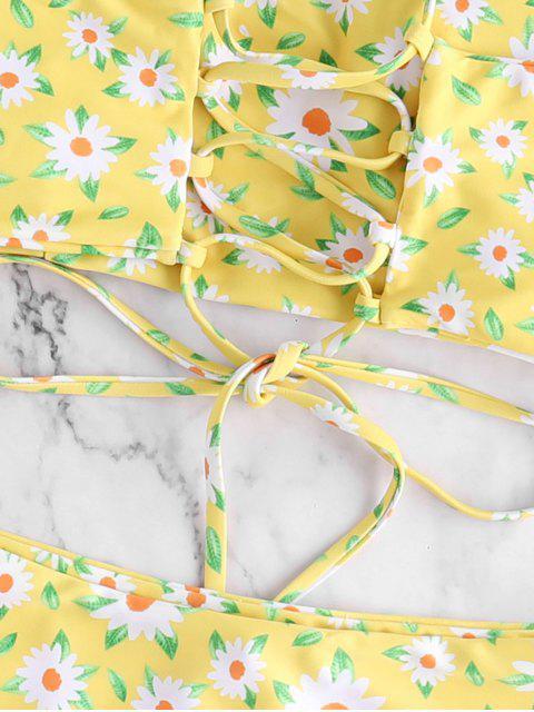 ZAFUL Maillot de Bain Bikini Fleur à Taille Haute à Lacets - Multi-A S Mobile