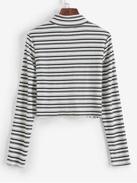 outfits ZAFUL Striped Twist Front Crop Long Sleeves Tee - WHITE S Mobile