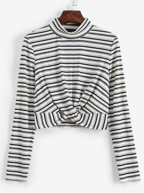 trendy ZAFUL Striped Twist Front Crop Long Sleeves Tee - WHITE M Mobile