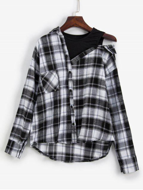 ladies Plaid Drop Shoulder Pocket 2fer Blouse - MULTI ONE SIZE Mobile