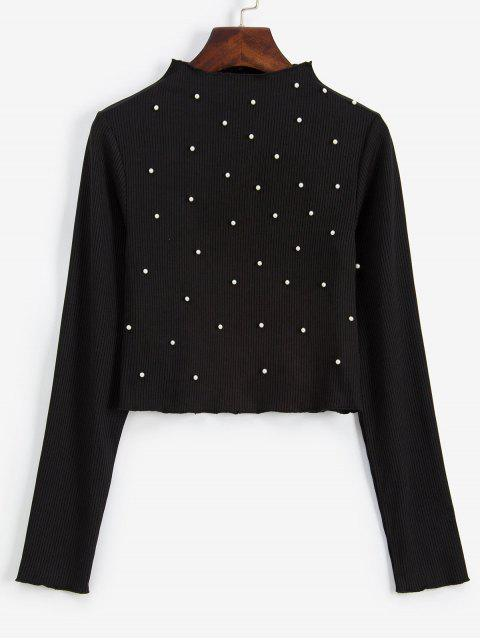 lady ZAFUL Beading Faux Pearls Ribbed Long Sleeve Tee - BLACK S Mobile