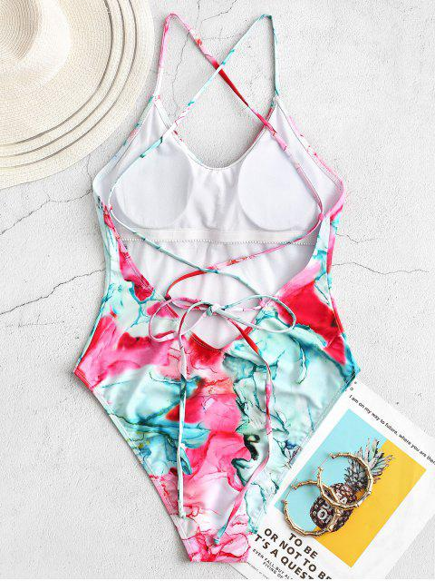 lady ZAFUL Tie Dye Lace Up One-piece Swimsuit - MULTI-A L Mobile