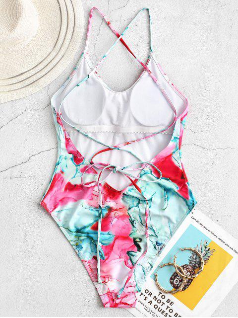 buy ZAFUL Tie Dye Lace Up One-piece Swimsuit - MULTI-A S Mobile