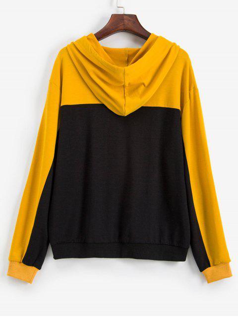 lady ZAFUL Colorblock Drop Shoulder Drawstring Hoodie - MULTI S Mobile