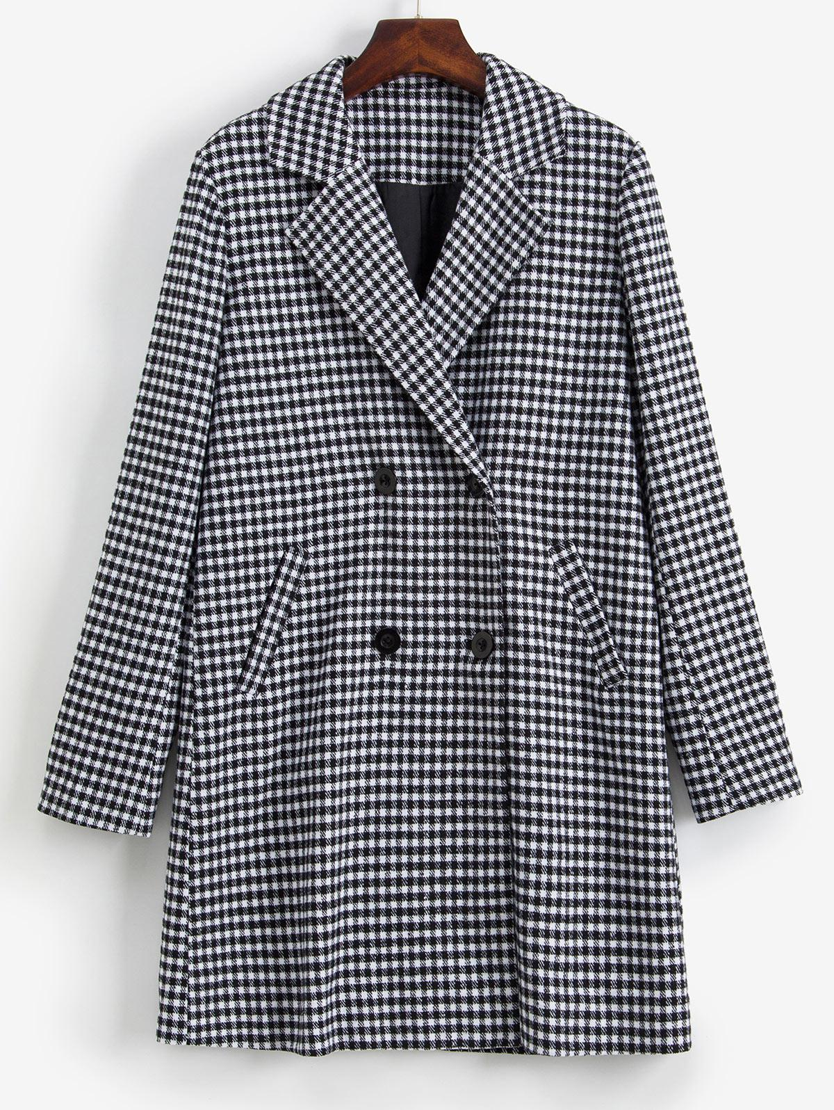 ZAFUL Gingham Button Up Lapel Coat