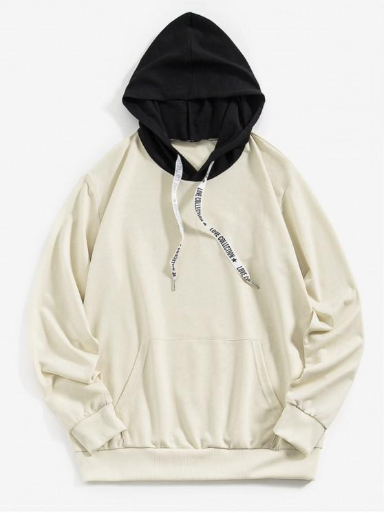 sale ZAFUL Kangaroo Pocket Letter Printed Drawstring Hoodie - LIGHT KHAKI S