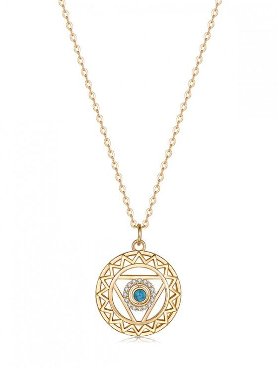 lady Hollow Geometric Zircon Pendant Necklace - SKY BLUE REGULAR