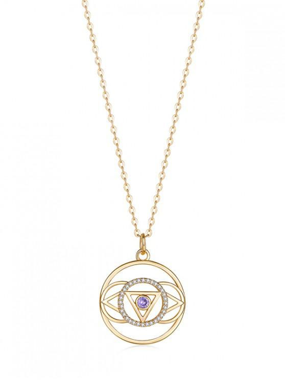 chic Hollow Geometric Zircon Pendant Necklace - MAUVE REGULAR
