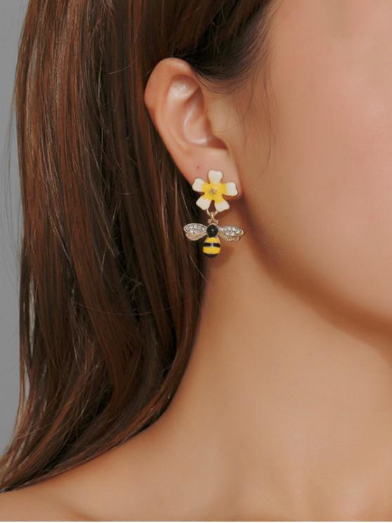 affordable Rhinestoned Flower Bee Earrings - GOLD