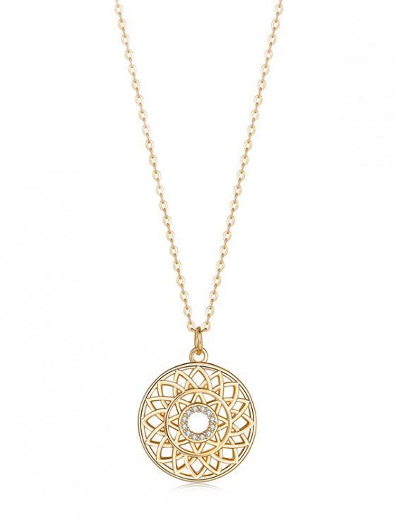 latest Hollow Geometric Zircon Pendant Necklace - WHITE REGULAR