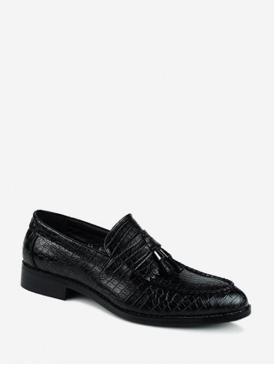 動物浮雕尖的鞋頭溜商務鞋 - 黑色 歐盟39