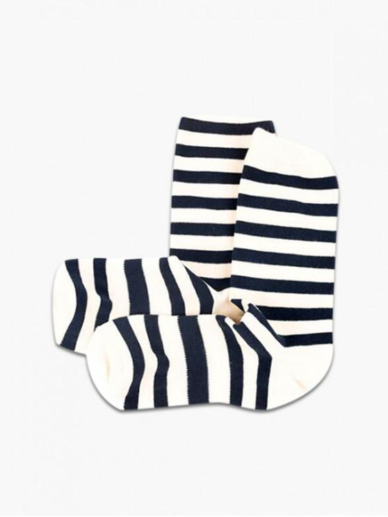 women Striped Pattern Cotton Crew Length Socks - WHITE
