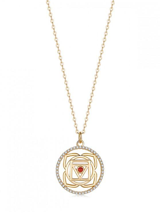 latest Hollow Geometric Zircon Pendant Necklace - RED REGULAR
