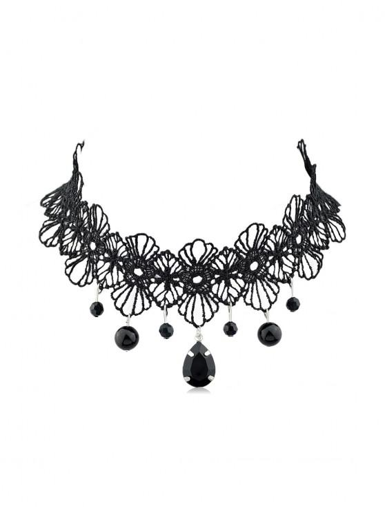 womens Flower Waterdrop Bead Lace Choker Necklace - BLACK