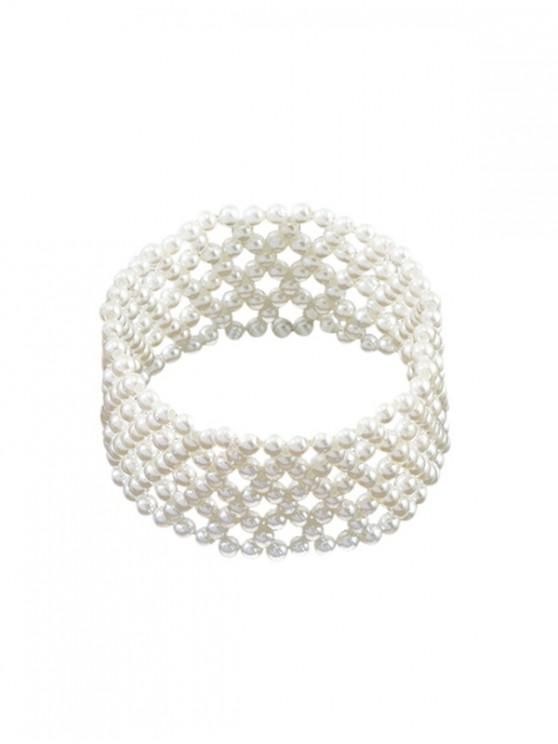 online Faux Pearl Multilayered Beaded Bracelet - WHITE