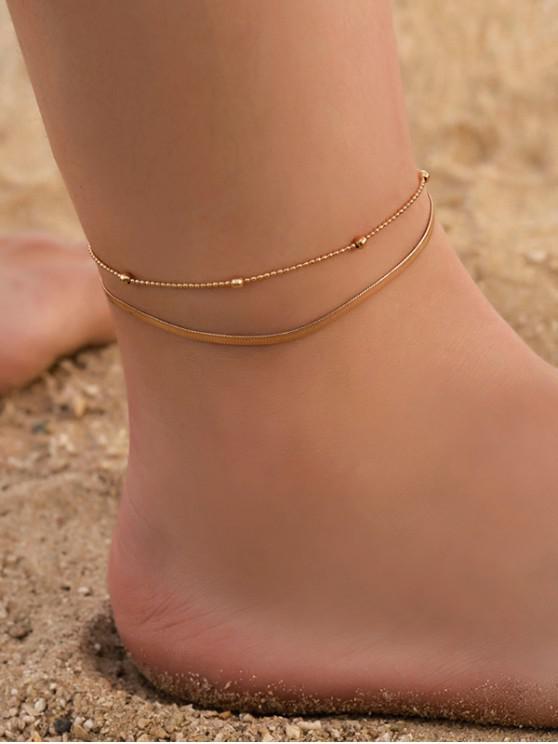 1PC金屬珠鍊腳鍊 - 金
