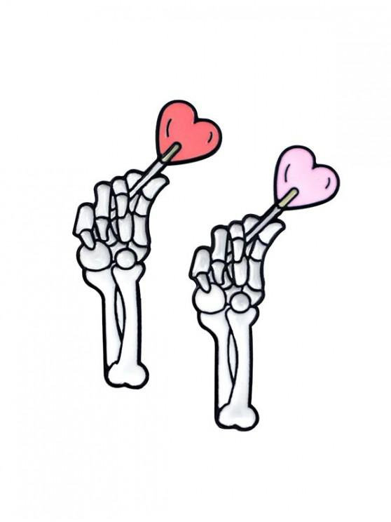 Broches de esqueleto para amantes de mãos - Branco