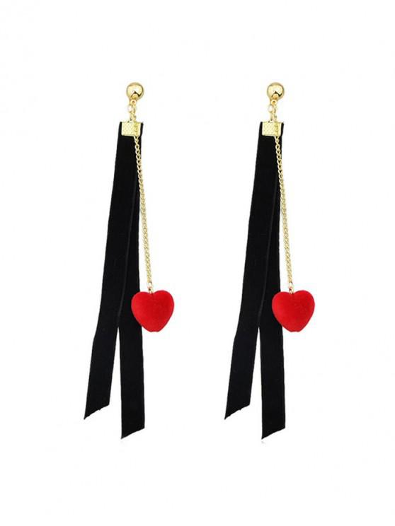 shops Heart Chain Drop Earrings - BLACK