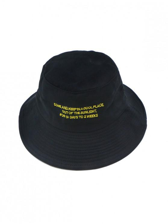 unique Solid Casual Character Pattern Bucket Hat - BLACK