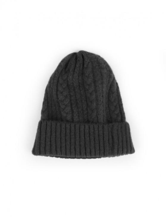 Sombrero de lana trenzada suave de invierno - Gris Oscuro