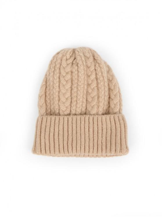Sombrero de lana trenzada suave de invierno - Caqui Claro