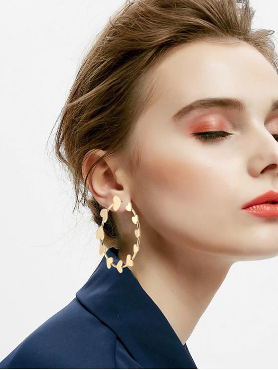 shops Metal Heart Circle Earrings - GOLD