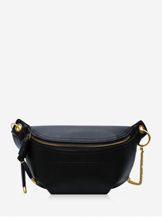 outfit Zipper Solid Chain Chest Bag - BLACK
