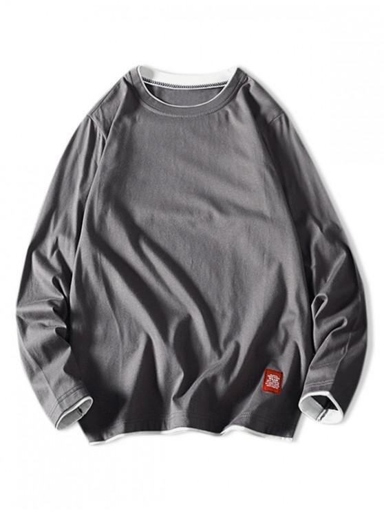 trendy Contrast Tipping Long Sleeve Basic T-shirt - DARK GRAY XS